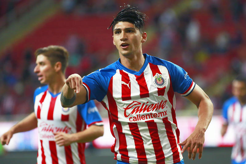 ZAPOPAN, MEXICO - SEPTEMBER 24: Alan Pulido of Chivas celebrates after scoring the second goal of his team during the 11th round match between Chivas and Pachuca as part of the Torneo Apertura 2019 Liga MX at Akron Stadium on September 24, 2019 in Zapopan, Mexico. (Photo by Alfredo Moya/Jam Media/Getty Images)