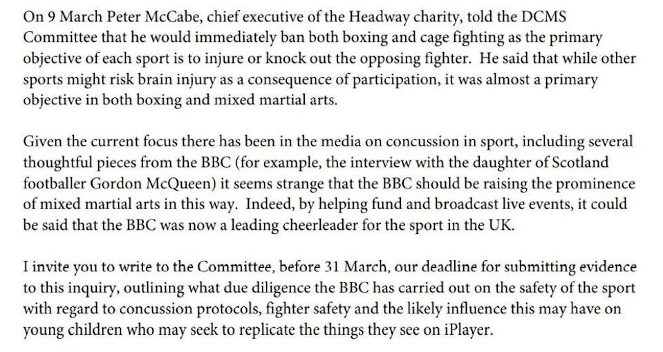 Excerpt of a letter from DCMS committee chair Julian Knight MP to BBC director-general Tim Davie