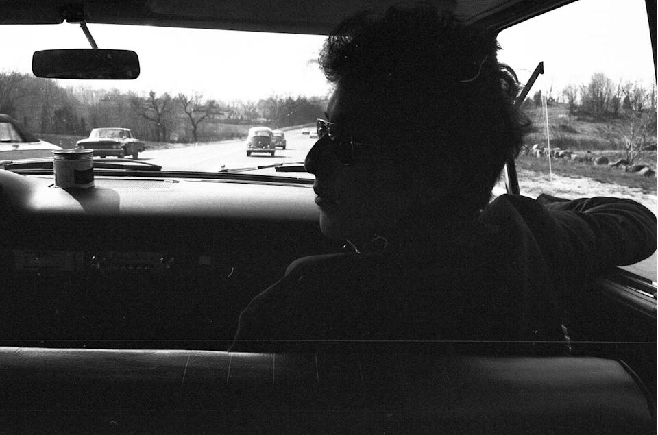 <p>Bob Dylan travelling in a car through Massachusetts in April 1964.</p>