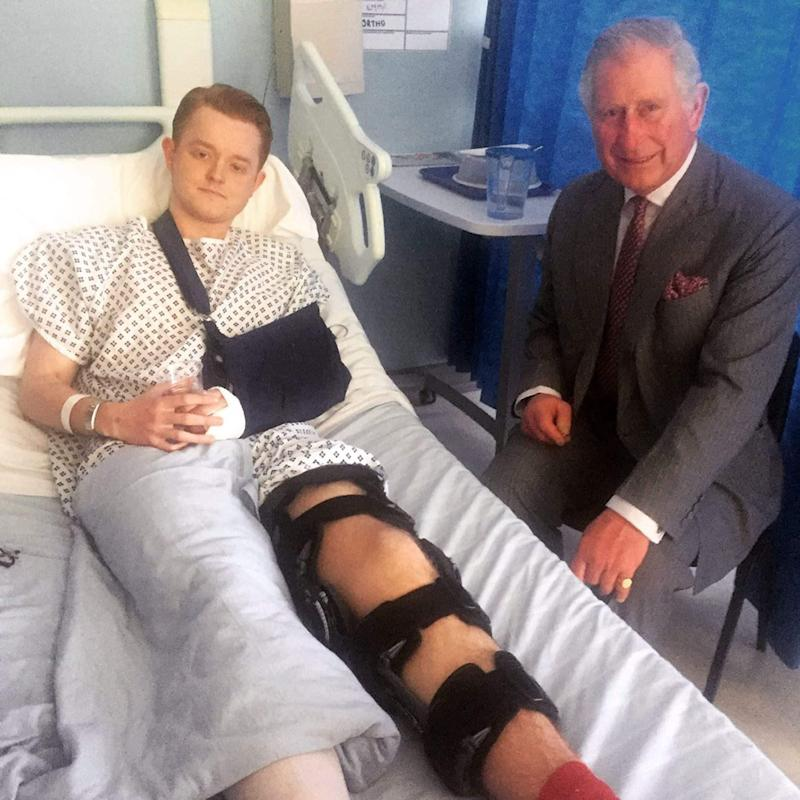 the Prince of Wales meeting Travis Frain who was injured in the Westminster terrorist - Credit: PA