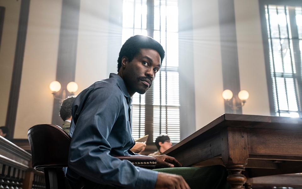 Bobby Seale (a formidable Yahya Abdul-Mateen II), national chairman of the Black Panther Party, was brought in to cause fearmongering among the white jurors.Niko Tavernise/Netflix