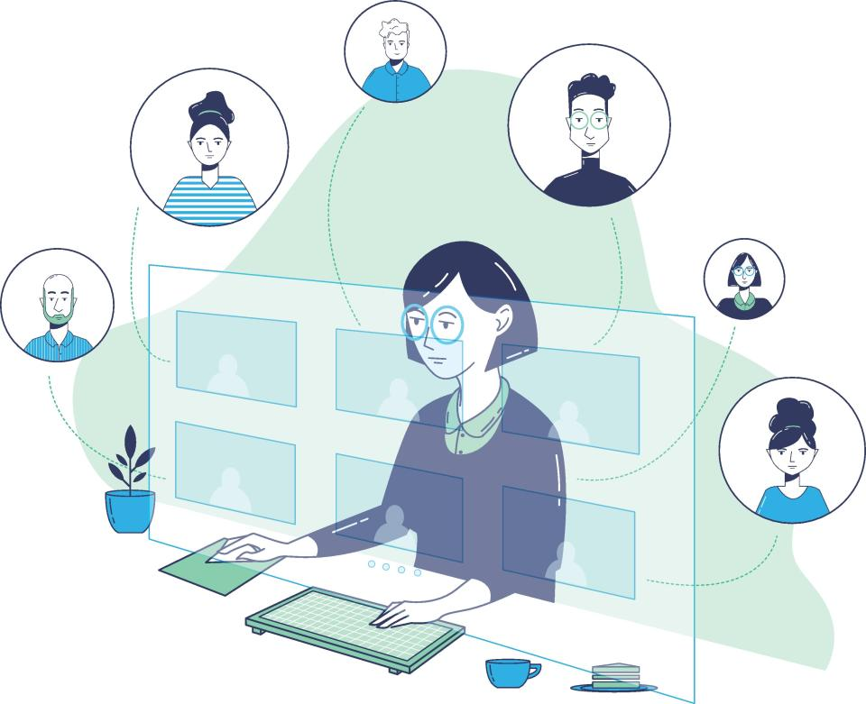 An illustration of a confident businesswoman conducting a virtual meeting from her home during the COVID-19 crisis. She is using a mouse and keyboard. Her colleagues are seen in digitally enhanced images around the computer monitor.