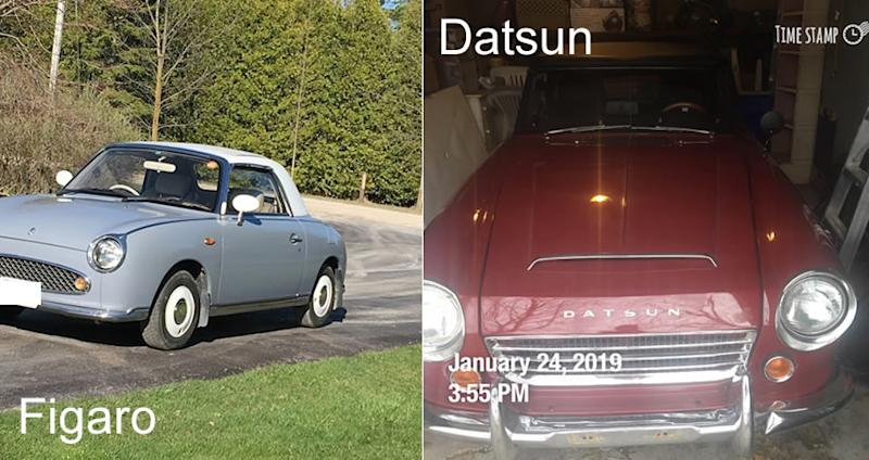the contributor's figaro and datsun cars