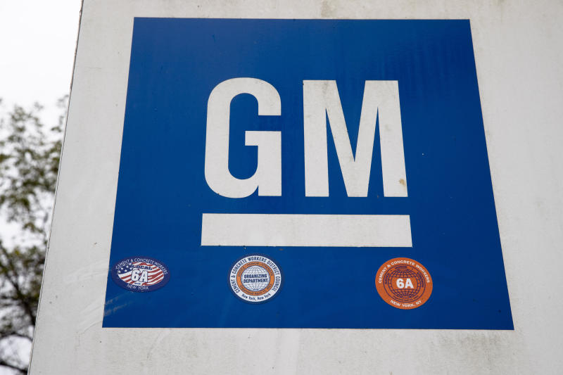 FILE - This Oct. 16, 2019, file photo shows a sign at a General Motors facility in Langhorne, Pa. General Motors and Korea's LG Chem have formed a joint venture to build an electric vehicle battery cell factory near Lordstown, Ohio, east of Cleveland. (AP Photo/Matt Rourke, File)