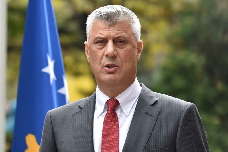 Kosovo's President Thaci is pictured during news conference as he resigns to face war crimes charges at ICC