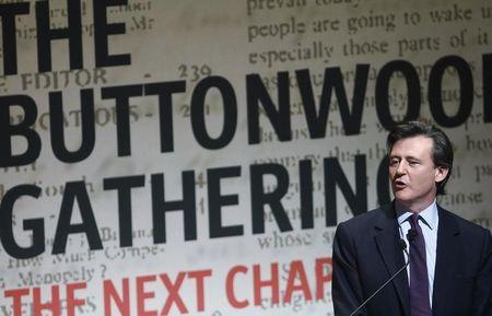 John Micklethwait speaks during the publication's Buttonwood Gathering in New York October 24, 2012. REUTERS/Carlo Allegri