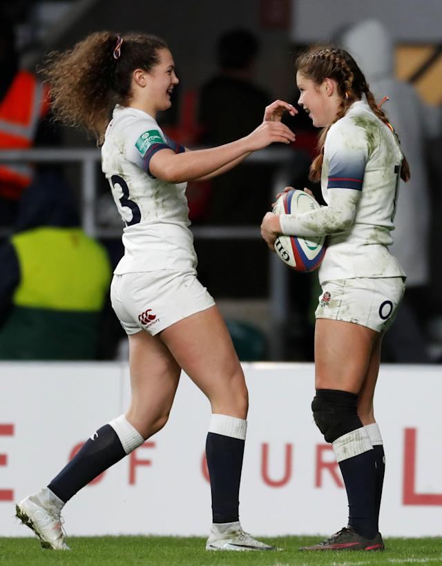 Rugby Union - Women's International - England vs Canada - Twickenham Stadium, London, Britain - November 25, 2017 England's Jess Breach celebrates after she scores her fifth try with Ellie Kildunne Action Images via Reuters/Paul Childs