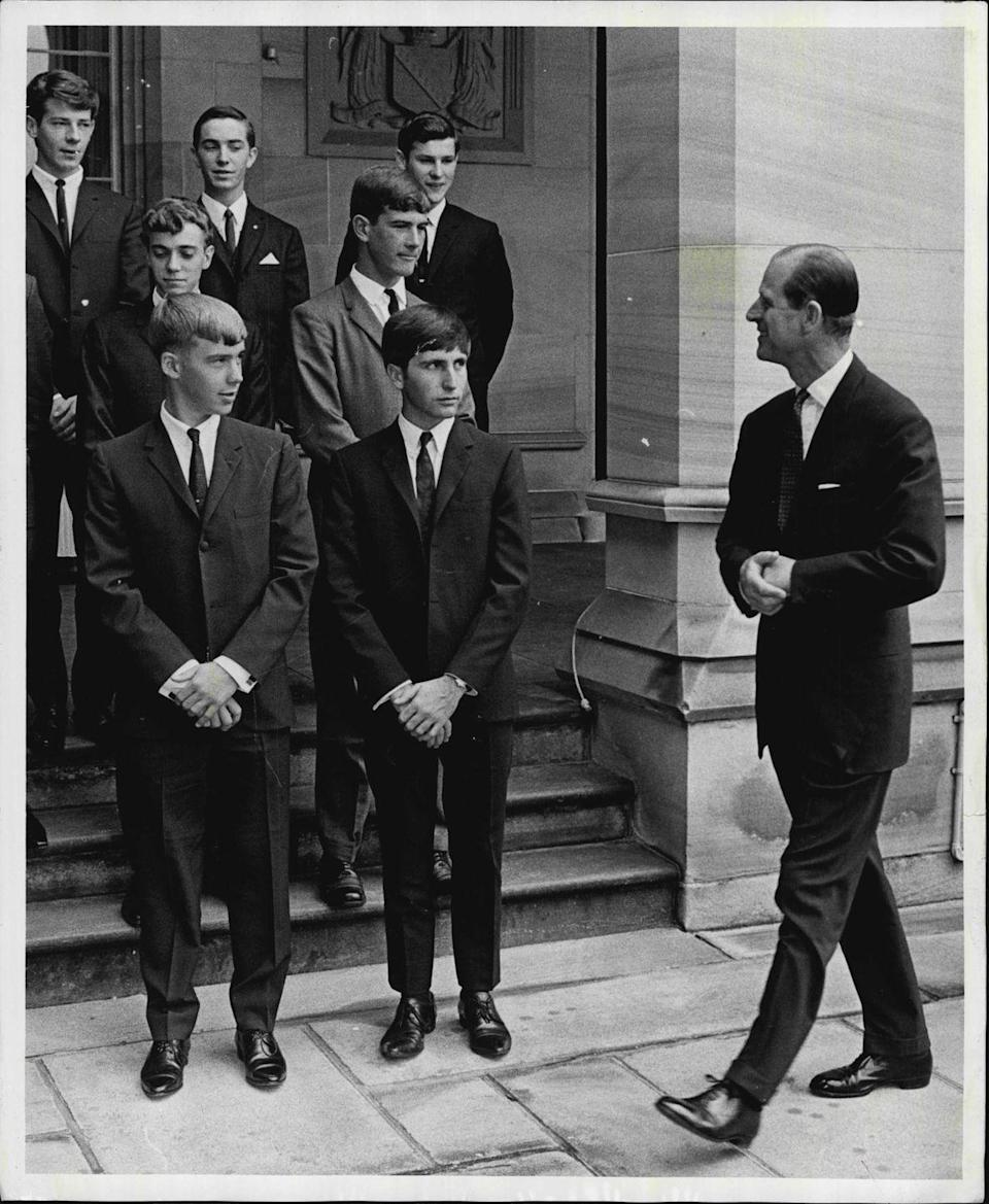 <p>The Duke of Edinburgh presented gold awards for The Duke of Edinburgh's Award Scheme to 15 youths from Australia at a ceremony at State Government House in the 1960s. </p>
