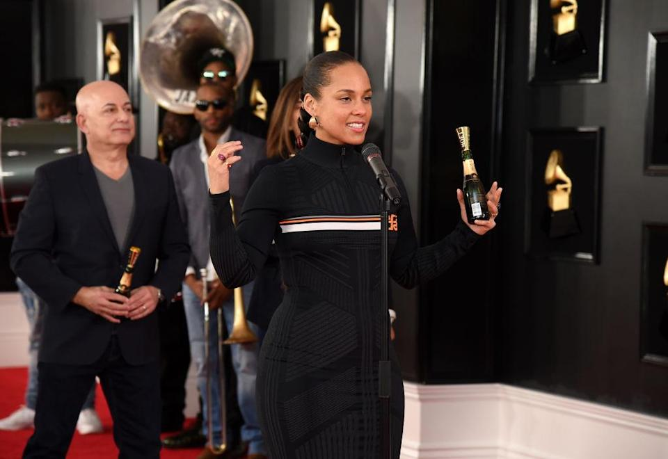 Host Alicia Keys rehearses for the Grammys at Staples Center in Los Angeles on Feb. 7. (Photo: Michael Kovac/Getty Images for NARAS)