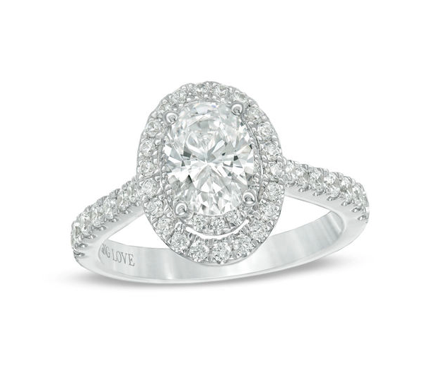 Vera Wang Love Collection Certified Oval Diamond Frame Engagement Ring. Image via People's Jewellers.