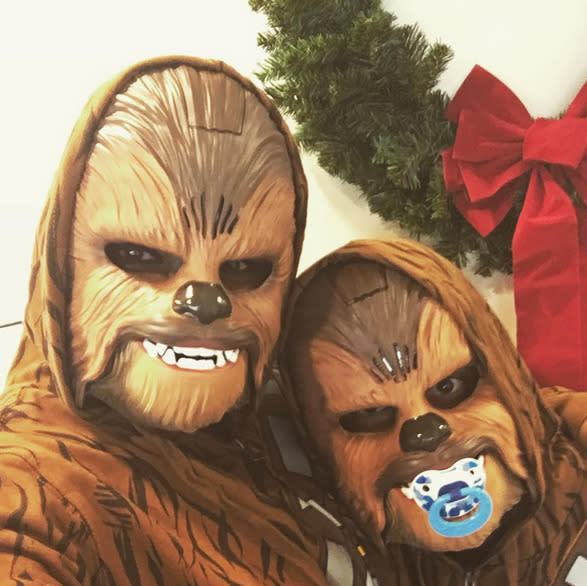 """<p>Closet<i> Star Wars</i> supporter Mindy Kaling didn't even try to hide her love for the franchise this week, although no one would've known it was her without Instagram. (She's tagged as the one on the left.) """"Happy holidays from our family to yours. Love, Chewy and Lumpy,"""" she <a href=""""https://www.instagram.com/p/_cZzVQpQ3M/"""" target=""""_blank"""">wrote</a>.<i> (Photo: Instagram)</i></p>"""
