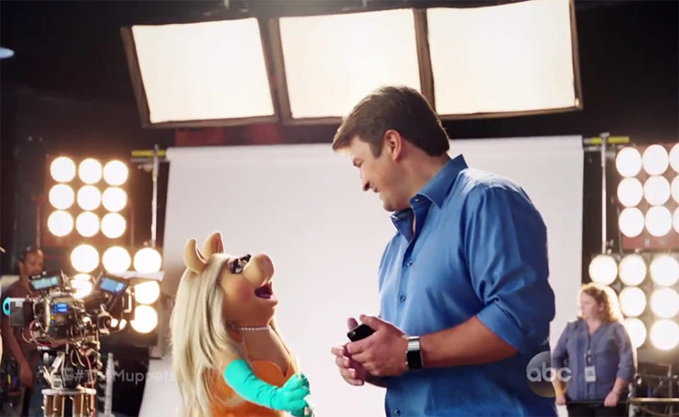 """<p>Kermit, Miss Piggy, Fozzie Bear, Gonzo, and the like became beloved icons for their gentle, good-hearted, goofy humor. And then this primetime reboot tried too hard to make the content more mature, with salacious jokes and sexual references. Miss Piggy should not be """"porking"""" Nathan Fillion, just ew… no. And everyone became so mean and beaten down! We should root for Kermit and team to succeed, not watch as they sullenly trudge through a soul-crushing work life. <em>— KW</em><br><br>(Photo: ABC) </p>"""