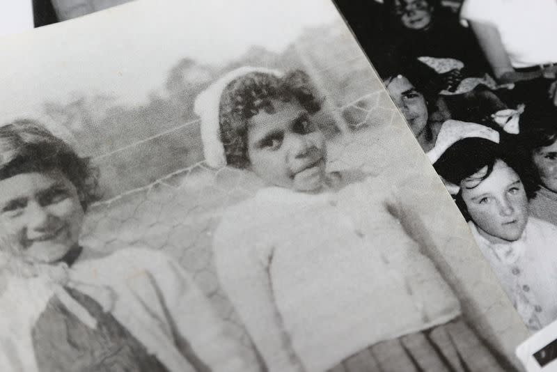 Indigenous Muruwari elder Rita Wright is pictured as a child in a photo at her home in Sydney