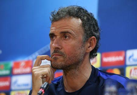 Football Soccer - Barcelona news conference - UEFA Champions League Quarterfinal - Joan Gamper training camp, Barcelona, Spain - 18/4/17 - Barcelona's coach Luis Enrique attends a news conference. REUTERS/Albert Gea