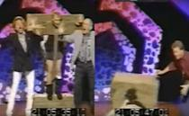 <p>It was all fun and games on celeb quiz show 'Public Enemy Number One'. With host Bobby Davro in the stocks (for some reason), and Lionel Blair having pulled down his trousers, his humiliation was complete when he lost balance and face-planted into the show's shiny floor. As Cheggers wails 'Oh Bobby!', an embarrassed Blair and Jim Bowen look on. Davro broke his nose. Though the incident was recorded live, it was not televised. It was later used in BBC safety videos.</p>