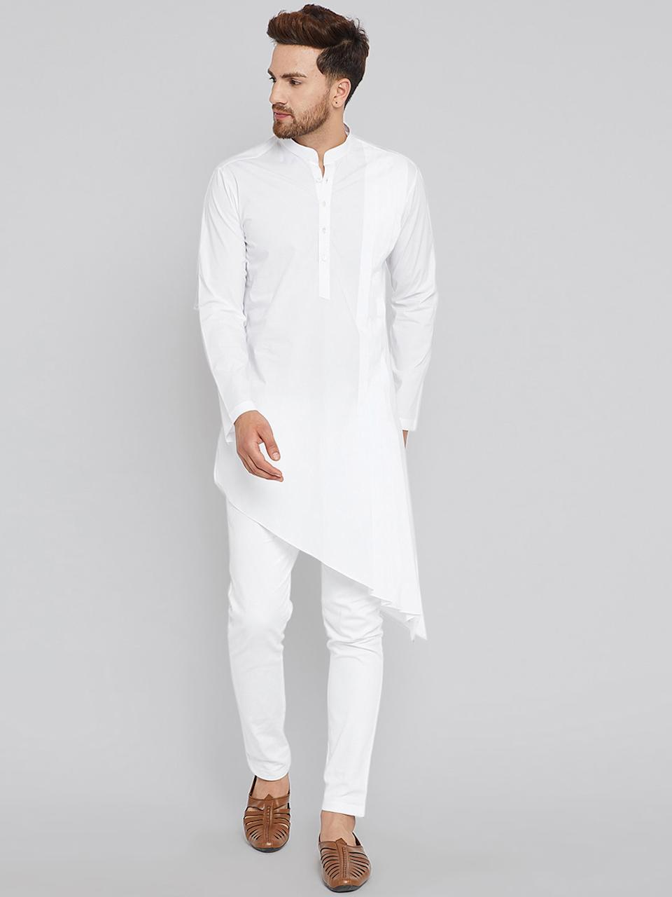 "<a href=""https://fave.co/2UZ614e"" rel=""nofollow noopener"" target=""_blank"" data-ylk=""slk:BUY HERE"" class=""link rapid-noclick-resp"">BUY HERE</a> White solid A-line kurta, has a mandarin collar, long sleeves, asymmetric hem, side slits, by See Designs from Myntra, for a discounted price of Rs. 1,249."