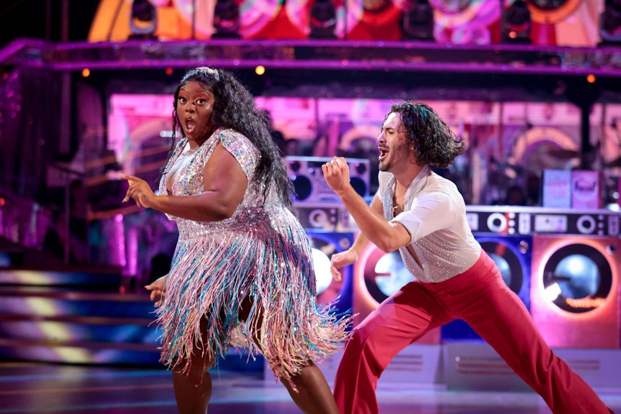 Programme Name: Strictly Come Dancing 2021 - TX: 02/10/2021 - Episode: Strictly Come Dancing - TX2 LIVE SHOW (No. n/a) - Picture Shows: ++LIVE SHOW++ Judi Love, Graziano Di Prima - (C) BBC - Photographer: Guy Levy