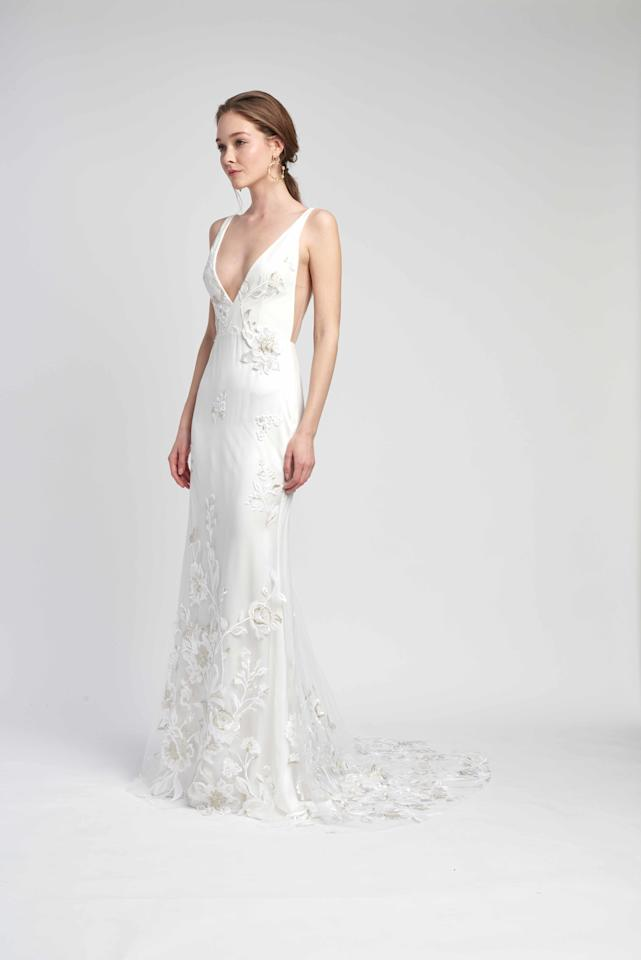 """Alouette"" wedding dress,  <a rel=""nofollow"" href=""https://www.brides.com/gallery/new-alexandra-grecco-wedding-dresses-fall-2019?mbid=synd_yahoo_rss"">Alexandra Grecco</a>"