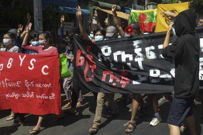 Anti-coup protesters from various township hold slogans during a demonstration in Yangon, Myanmar on Tuesday May 11, 2021. The military takeover of Myanmar early in the morning of Feb. 1 reversed the country's slow climb toward democracy after five decades of army rule. But Myanmar's citizens were not shy about demanding their democracy be restored. (AP Photo)