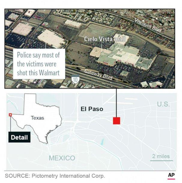 PHOTO: A graphic released by the Associated Press shows the location of a mall shooting in El Paso, Texas, Aug. 3, 2019. (AP)