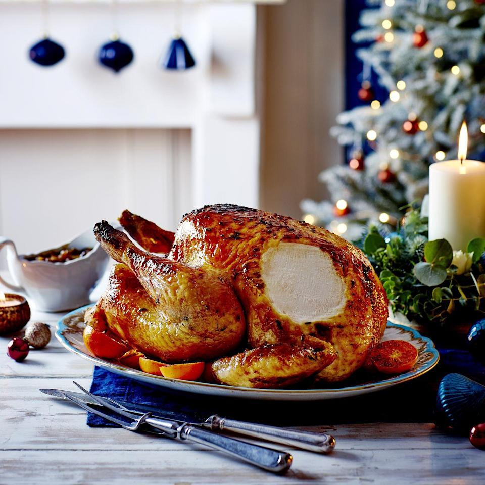 "<p>For this year's main event, we have glazed our turkey with sherry, marmalade and mustard and rubbed it in clementine juice, thyme and butter.<strong><br></strong></p><p><strong>Recipe: <a href=""https://www.goodhousekeeping.com/uk/christmas/christmas-recipes/a34668894/thyme-sherry-glazed-turkey/"" rel=""nofollow noopener"" target=""_blank"" data-ylk=""slk:Thyme and Sherry-Glazed Turkey"" class=""link rapid-noclick-resp"">Thyme and Sherry-Glazed Turkey</a></strong></p>"