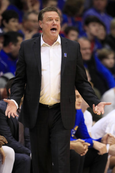 Kansas head coach Bill Self directs his team during the first half of an NCAA college basketball game against Tennessee in Lawrence, Kan., Saturday, Jan. 25, 2020. (AP Photo/Orlin Wagner)