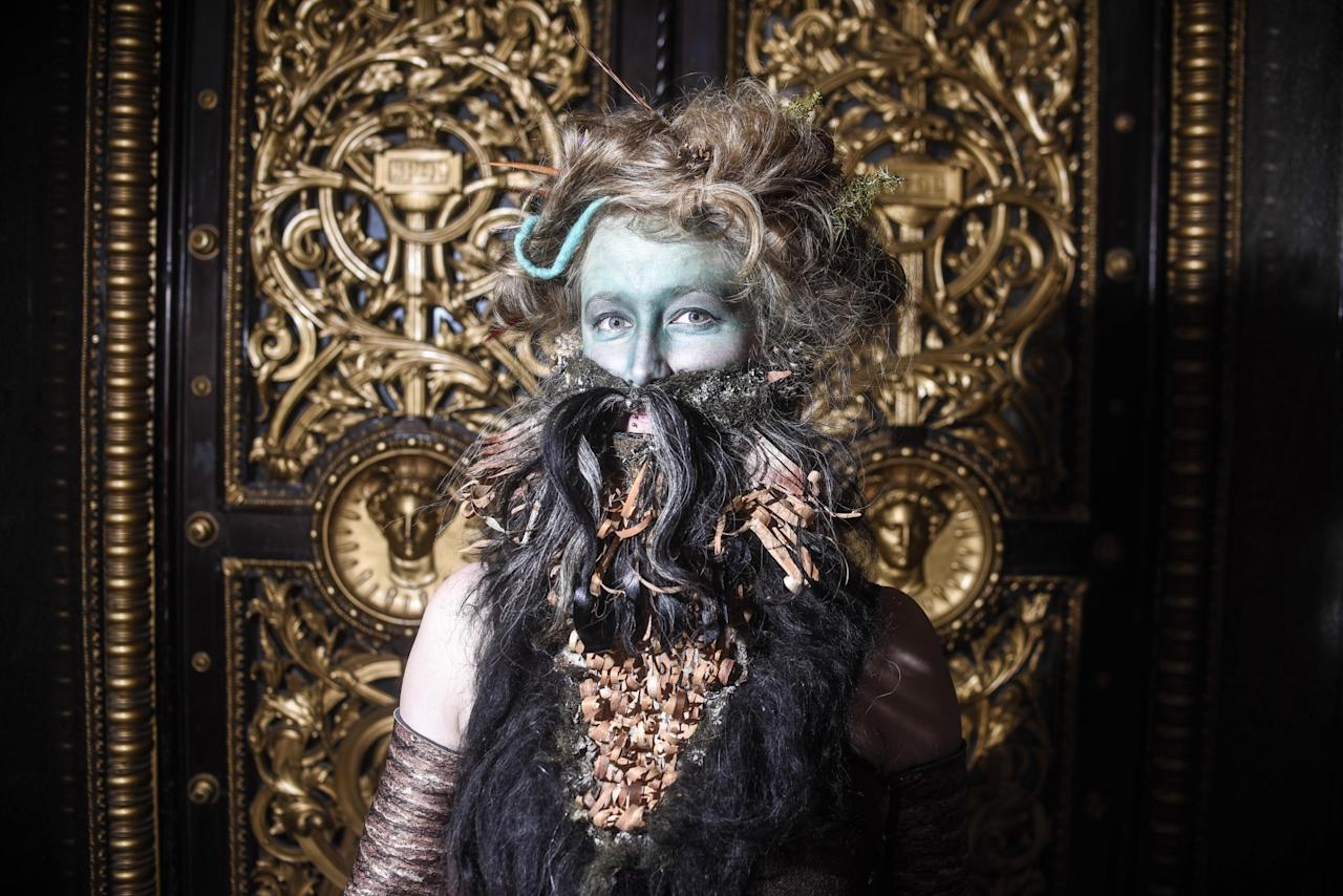 <p>Siri Neslien, a bearded lady from Norway, shows off her facial fuzz. (Dan Rowlands/Mercury Press) </p>