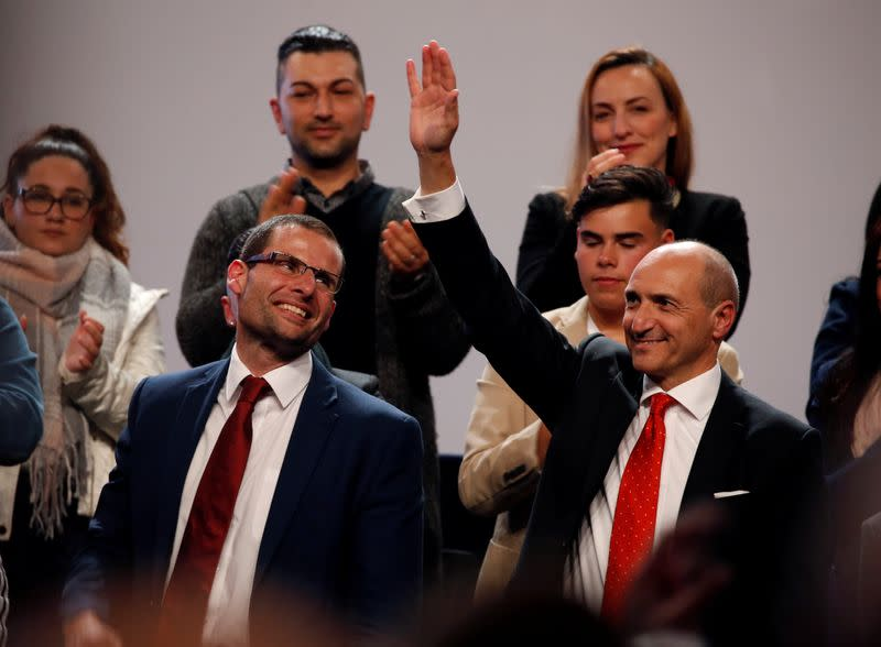 Leadership contenders Robert Abela and Chris Fearne attend outgoing Prime Minister and Labour Party leader Joseph Muscat's final speech at the party's Congress before the election of a new party leader in Paola