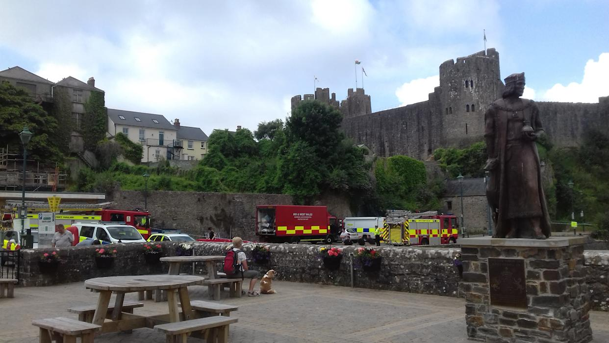 Emergency services were called to Pembroke Castle after Ap Evans' hoax. (PA/Dyfed-Powys Police)