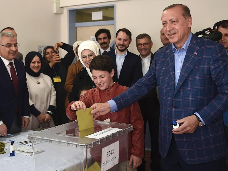 'Yes' vote could see Mr Erdogan remain in office until 2029: AFP/Getty