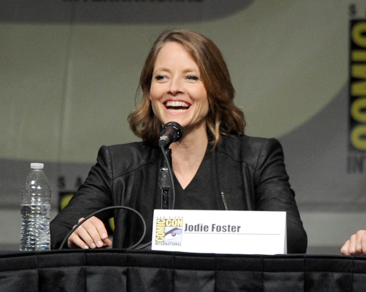"SAN DIEGO, CA - JULY 13:  Actress Jodie Foster speaks during Sony's ""Eylsium"" panel during Comic-Con International 2012 at San Diego Convention Center on July 13, 2012 in San Diego, California.  (Photo by Kevin Winter/Getty Images)"