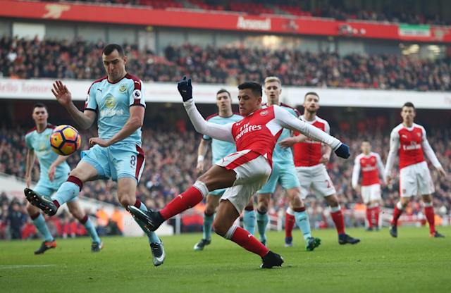 <p>Alexis Sanchez tries his luck at goal </p>