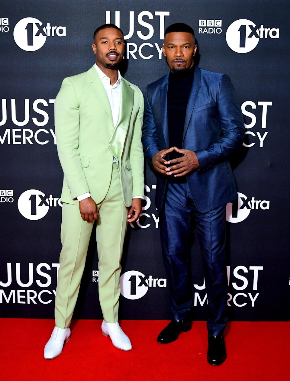 <p>He finished the look with crisp white Christian Louboutin shoes.</p>