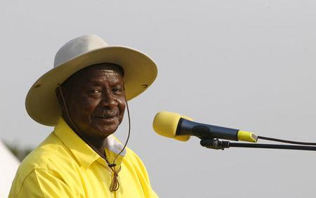 FILE PHOTO: Uganda's President and ruling party National Resistance Movement presidential candidate Museveni speaks during campaign rally in capital Kampala