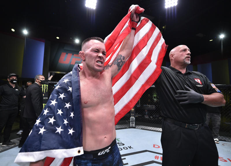LAS VEGAS, NEVADA - SEPTEMBER 19: Colby Covington reacts after his TKO victory over Tyron Woodley in their welterweight bout during the UFC Fight Night event at UFC APEX on September 19, 2020 in Las Vegas, Nevada. (Photo by Chris Unger/Zuffa LLC)