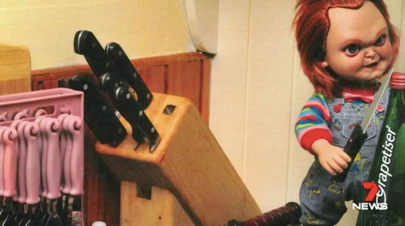 A doll from the horror film Chucky in the kitchen. Source: 7 News