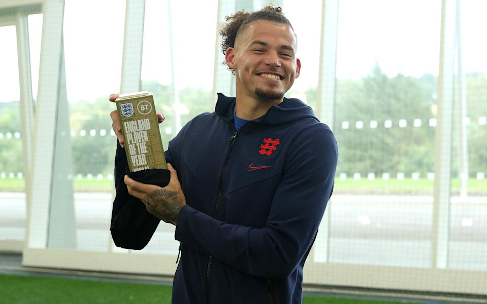 Kalvin Phillips of England poses with the award for the 2020-21 BT England Men's Player of the Year at St Georges Park - Eddie Keogh/The FA via Getty Images