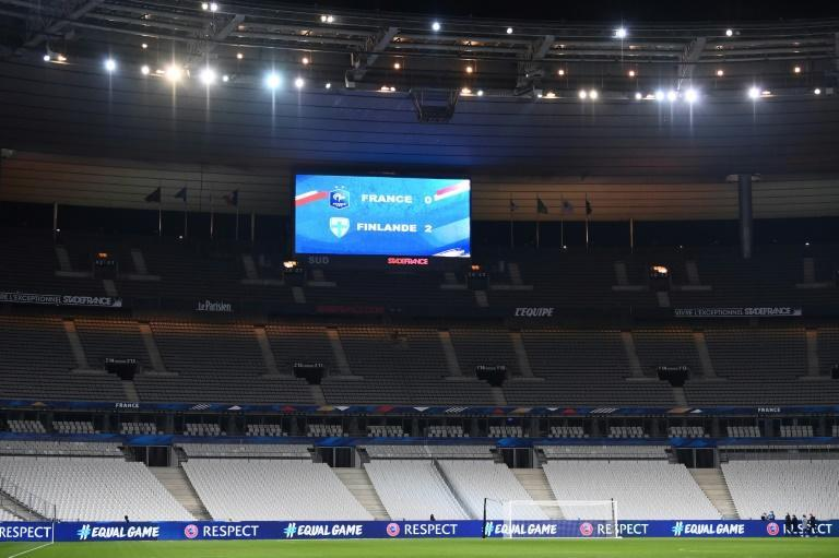 Scores are displayed after the friendly football match between France and Finland at the empty Stade de France in the Paris outskirts on November 11, 2020