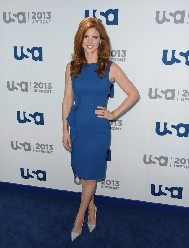 NEW YORK, NY - MAY 16: Sarah Rafferty attends USA Network 2013 Upfront Event at Pier 36 on May 16, 2013 in New York City. (Photo by Dave Kotinsky/Getty Images)
