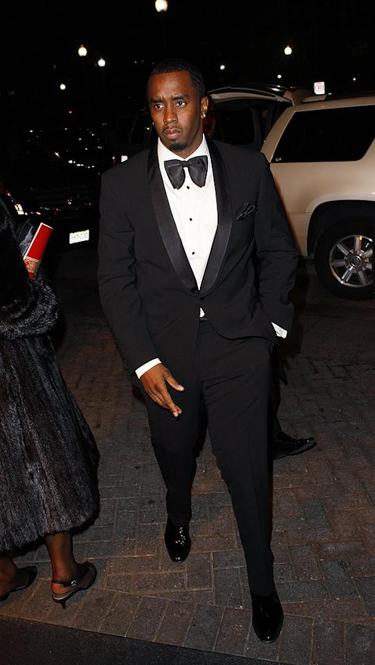"""Diddy looked dapper upon arriving at the BET Inaugural Ball in a bow tie. Karl Larsen<a href=""""http://www.infdaily.com"""" target=""""new"""">INFDaily.com</a> - January 20, 2009"""