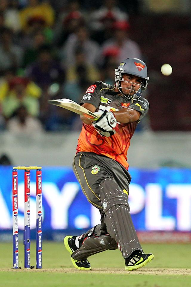 Karn Sharma during match 54 of the Pepsi Indian Premier League between The Sunrisers Hyderabad and Chennai Superkings held at the Rajiv Gandhi International  Stadium, Hyderabad  on the 8th May 2013Photo by Prashant Bhoot-IPL-SPORTZPICS Use of this image is subject to the terms and conditions as outlined by the BCCI. These terms can be found by following this link:https://ec.yimg.com/ec?url=http%3a%2f%2fwww.sportzpics.co.za%2fimage%2fI0000SoRagM2cIEc&t=1493180346&sig=dWGSsXv4FLaEbC9vjOiDmg--~C