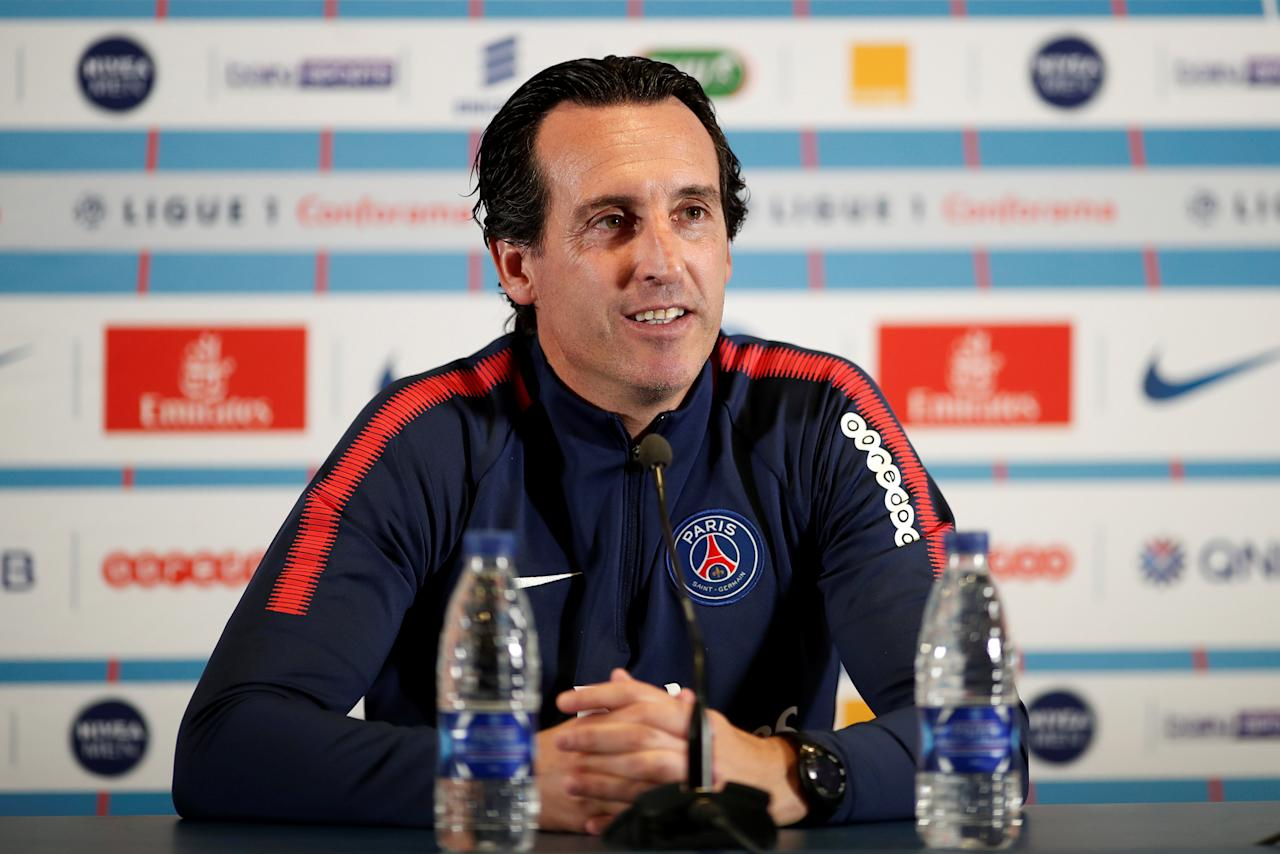 Soccer Football - Paris St Germain Press Conference - Centre Ooredoo Camp, Saint Germain-En-Laye, France - September 21, 2017   Paris Saint-Germain coach Unai Emery  during the press conference    REUTERS/Benoit Tessier