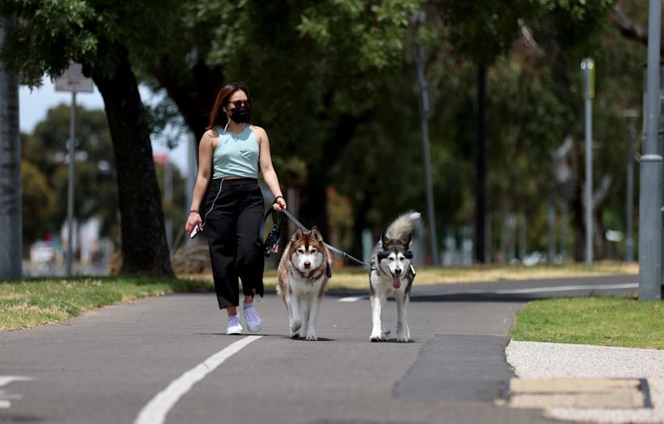 A woman walks her dogs after it was announced that restrictions in South Australia would be eased in Adelaide.