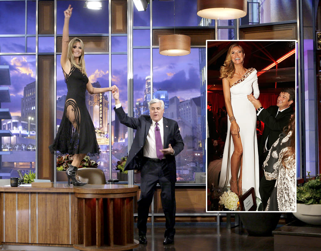 THE TONIGHT SHOW WITH JAY LENO -- Episode 4393 -- Pictured: (l-r) Supermodel Heidi Klum during an interview with host Jay Leno on January 23, 2013 -- (Photo by: Paul Drinkwater/NBC/NBCU Photo Bank)