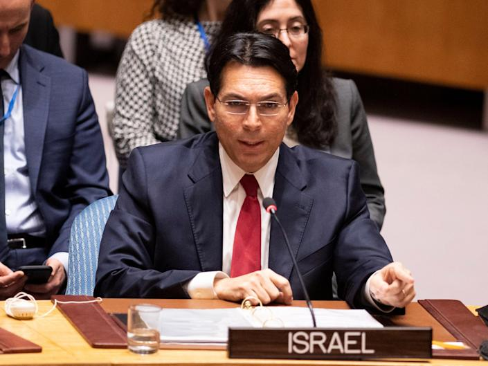 Danny Danon speaks to the UN Security Council at the United Nations headquarters on February 11, 2020 in New York. (AFP via Getty Images)