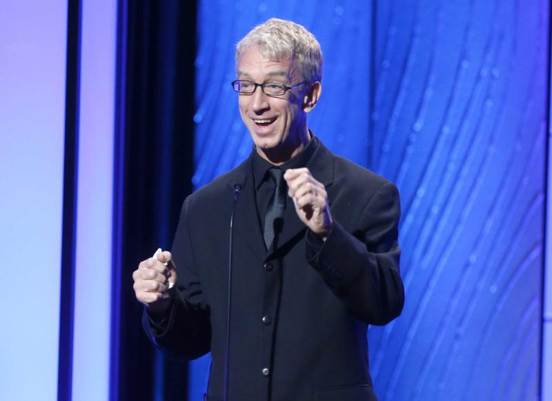 "FILE - This Nov. 15, 2012 file photo shows comedian Andy Dick speaks onstage during the American Cinematheque 26th Annual Award Presentation To Ben Stiller 2012 in Beverly Hills, Calif. Andy Dick is one of eleven celebrity contestants who will compete on the next edition of ""Dancing with the Stars."" The new season kicks off on ABC with a two-hour premiere on March 18. (Photo by Todd Williamson/Invision/AP, file)"