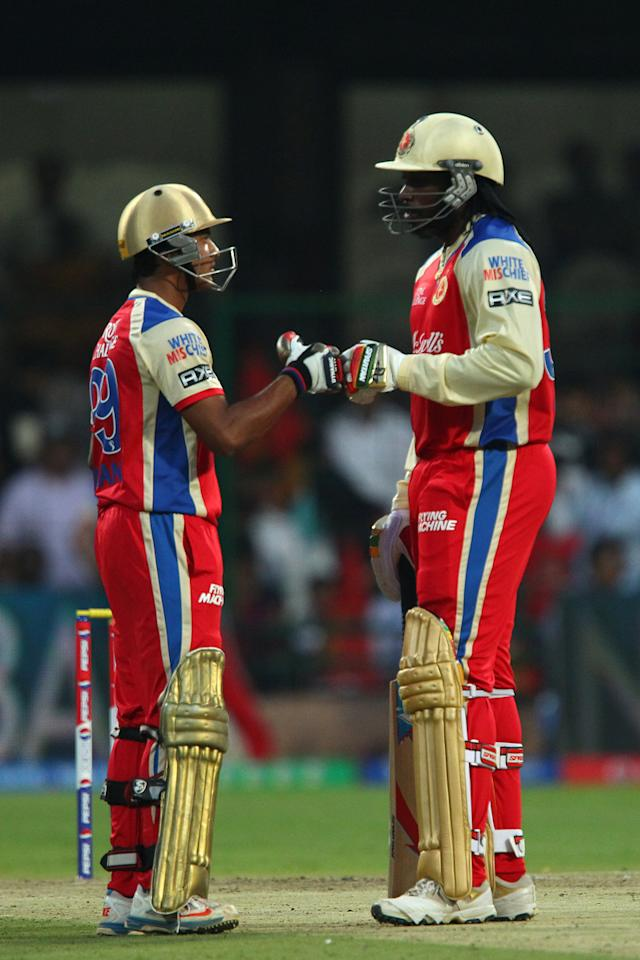 Mayank Agarwal and Chris Gayle during match 9 of of the Pepsi Indian Premier League between The Royal Challengers Bangalore and The Sunrisers Hyderabad held at the M. Chinnaswamy Stadium, Bengaluru on the 9th April 2013..Photo by Ron Gaunt-IPL-SPORTZPICS ..Use of this image is subject to the terms and conditions as outlined by the BCCI. These terms can be found by following this link:..https://ec.yimg.com/ec?url=http%3a%2f%2fwww.sportzpics.co.za%2fimage%2fI0000SoRagM2cIEc&t=1506118495&sig=QZjTc.qruAZgUGsLmIw8UQ--~D