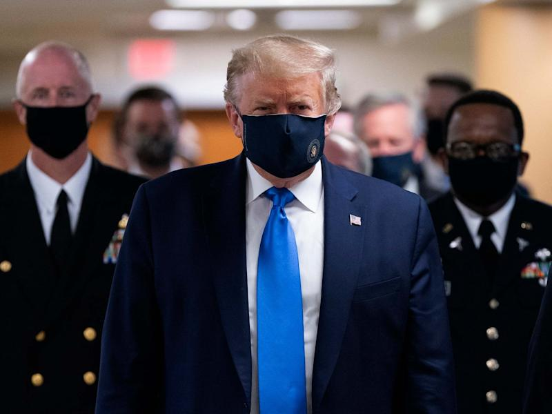US president Donald Trump wears a face mask as he arrives to visit wounded military members and front line coronavirus healthcare workers at Walter Reed National Military Medical Centre in Bethesda, Maryland, USA, 11 July 2020: Chris Kleponis/Pool