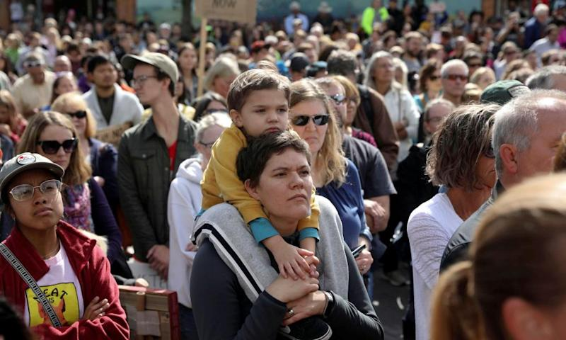Attendees participate in a climate strike rally with climate change environmental teen activist Greta Thunberg, in Iowa City, Iowa.