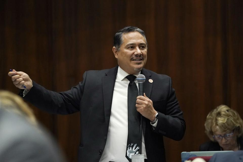 """Arizona Rep. Diego Rodriguez, D-Laveen, explains his """"no"""" vote during a vote on the Arizona budget at the Arizona Capitol Thursday, June 24, 2021, in Phoenix. (AP Photo/Ross D. Franklin)"""
